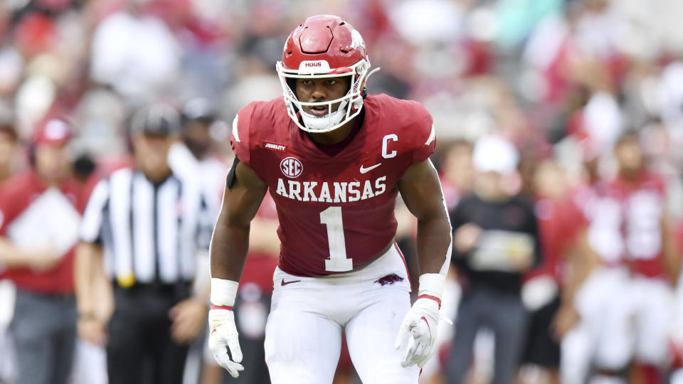 Arkansas defensive back Jalen Catalon is off to a great start in 2021. (AP Photo/Michael Woods).