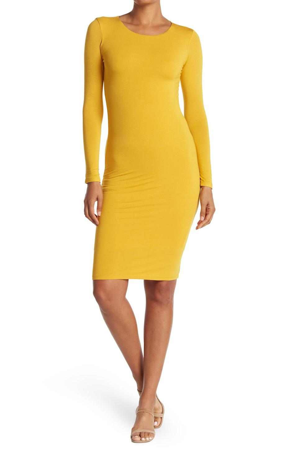 """<h2>Velvet Torch Long Sleeve Bodycon Midi Dress</h2><br>Reviewers love this super soft minimalist bodycon dress because it slips on like a second skin. And, if this bright mustard is a bit too bold for your taste, you can also get it in a fiery red, elegant black, or classic navy.<br><br><strong>The Hype: </strong>4.2 out of 5 stars and 59 reviews on <a href=""""https://www.nordstromrack.com/s/velvet-torch-long-sleeve-bodycon-midi-dress/6037238"""" rel=""""nofollow noopener"""" target=""""_blank"""" data-ylk=""""slk:NordstromRack.com"""" class=""""link rapid-noclick-resp"""">NordstromRack.com</a><br><br><strong>What They're Saying: </strong>""""A great dress, especially for the price I paid. Nice and sleek, form-fitting but not a girdle. Perfect color and silhouette. A very versatile dress that could be used for day and could also be a knockout at night with the right accessories. Fabric is nice and stretchy and looks good on. Length is just right. I've been looking for a dress like this for a long time. I couldn't believe I got it for the price I paid!"""" — mkmiraglia, NordstromRack.com reviewer<br><br><strong>Velvet Torch</strong> Long Sleeve Bodycon Midi Dress, $, available at <a href=""""https://go.skimresources.com/?id=30283X879131&url=https%3A%2F%2Fwww.nordstromrack.com%2Fs%2Fvelvet-torch-long-sleeve-bodycon-midi-dress%2F6037238"""" rel=""""nofollow noopener"""" target=""""_blank"""" data-ylk=""""slk:Nordstrom Rack"""" class=""""link rapid-noclick-resp"""">Nordstrom Rack</a>"""
