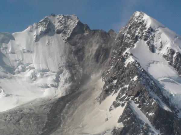 A closeup of the shattered face of Mount Dixon following a rockfall on Jan. 21, 2013.