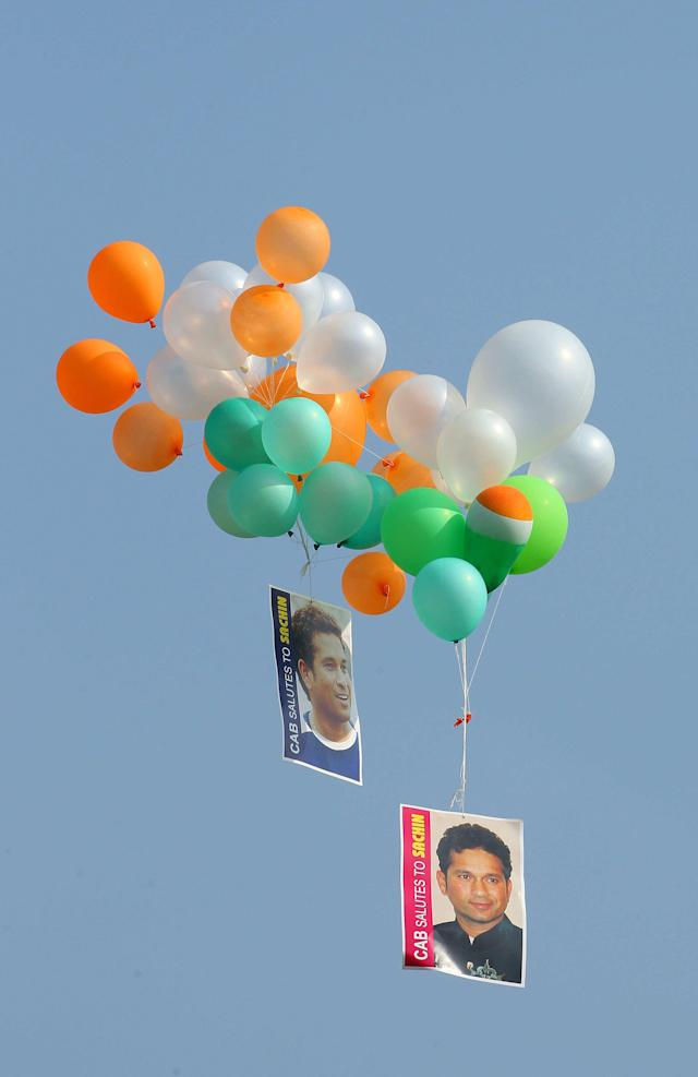 199 balloons were releases in honour of the 199th test for Sachin Tendulkar of India during day three of the first Star Sports test match between India and The West Indies held at The Eden Gardens Stadium in Kolkata, India on the 8th November 2013 Photo by: Ron Gaunt - BCCI - SPORTZPICS