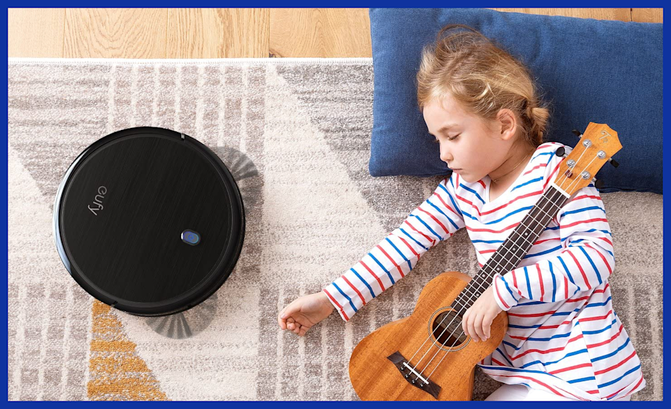 The BoostIQ is smart enough to flawlessly transition from hardwood to carpet...and to not suck the fingers off your sweet, sweet baby. (Photo: Amazon)