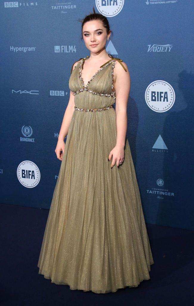 <p>The award-nominated actress wore a tulle, mossy green gown to the British Independent Film Awards, December 2017.</p>
