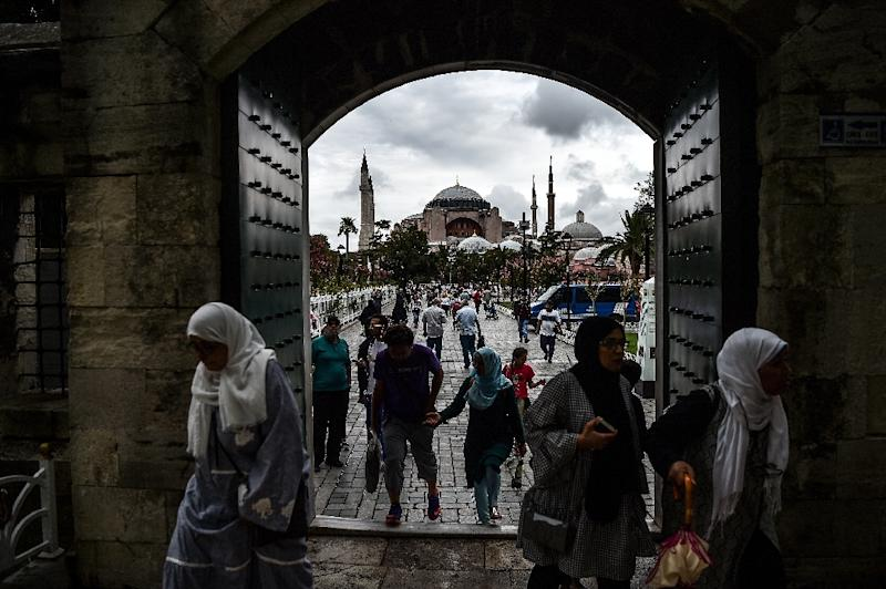 Athens is unhappy over Turkey's upkeep of Byzantine heritage in Istanbul, including at the Hagia Sophia (in the background), which is officially a museum but has seen an uptick in Muslim worship (AFP Photo/OZAN KOSE)
