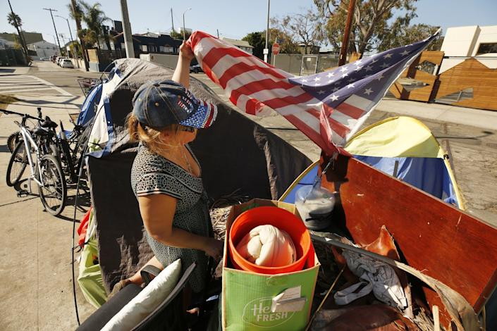 Elisabeth Axiotis is camped in a Venice parking lot across the street from A Bridge Home shelter
