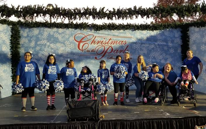 Team Mesquite Cheer after their performance at the Mesquite Christmas in the Park event. (Credit: Allee Pence/Elaine Schor)