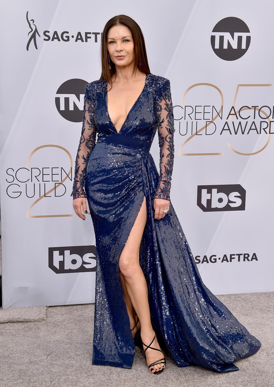<p>Wearing Zuhair Murad with Christian Louboutin shoes, Chopard jewellery, and a Jimmy Choo clutch to finish. <em>[Photo: Getty]</em> </p>