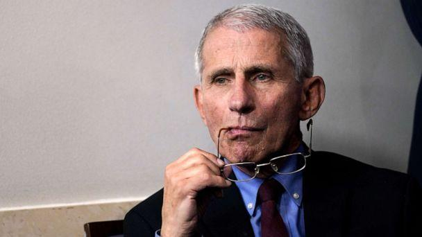 PHOTO: Dr. Anthony Fauci listens during a briefing on the coronavirus pandemic in the press briefing room of the White House on March 27, 2020, in Washington. (Drew Angerer/Getty Images, FILE)