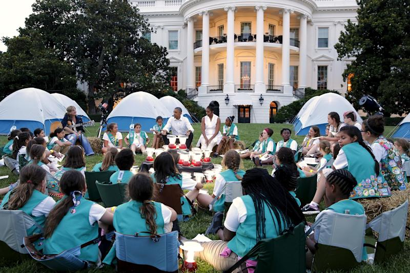 Girl Scouts camped out on the South Lawn of the White House in 2015. (Jonathan Ernst / Reuters)