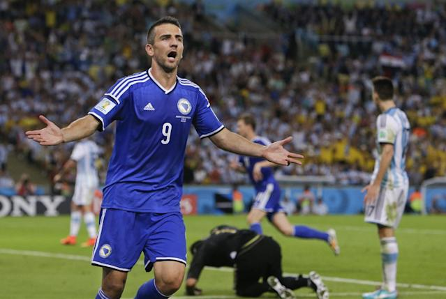 Bosnia's Vedad Ibisevic (9) celebrates after scoring his side's first goal during the group F World Cup soccer match between Argentina and Bosnia at the Maracana Stadium in Rio de Janeiro, Brazil, Sunday, June 15, 2014. (AP Photo/Thanassis Stavrakis)