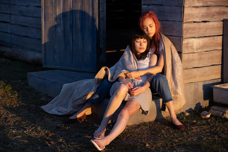 """<p>The sultry Japanese psychological thriller <a href=""""https://www.netflix.com/title/81261676"""" class=""""link rapid-noclick-resp"""" rel=""""nofollow noopener"""" target=""""_blank"""" data-ylk=""""slk:Ride or Die""""><strong>Ride or Die</strong></a> tells the story of a woman who learns her former crush is stuck in an abusive relationship and decides to help save her . . . through pretty extreme measures. The two are then forced to go on the run, where their feelings for each other intensify and eventually turn sexual. </p>"""