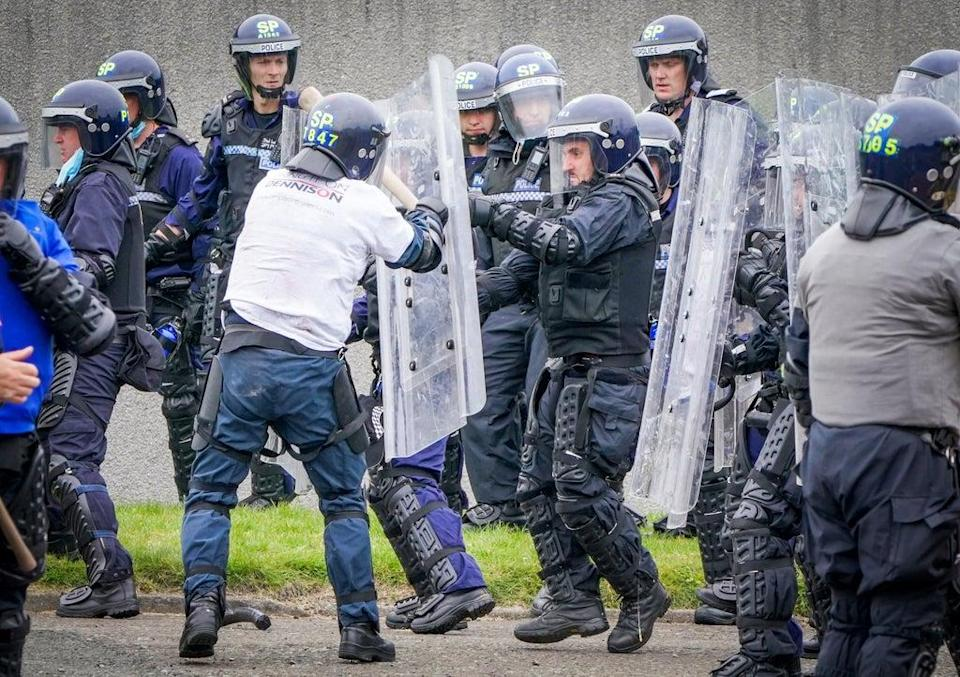 Police were trained in the use of riot shields against mock demonstrators (Jane Barlow/PA) (PA Wire)