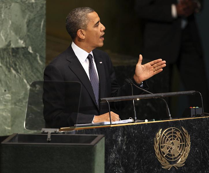 President Barack Obama addresses the the 67th session of the General Assembly at United Nations headquarters, Tuesday, Sept. 25, 2012. (AP Photo/Seth Wenig)