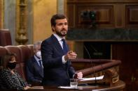 Spain's main opposition and PP leader Casado attends a no confidence motion in Madrid