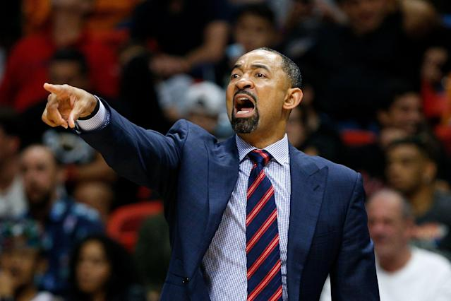 Assistant coach Juwan Howard of the Miami Heat looks on during a game against the Philadelphia 76ers on Nov. 12, 2018. Howard will be Michigan's new men's basketball coach. (Getty)
