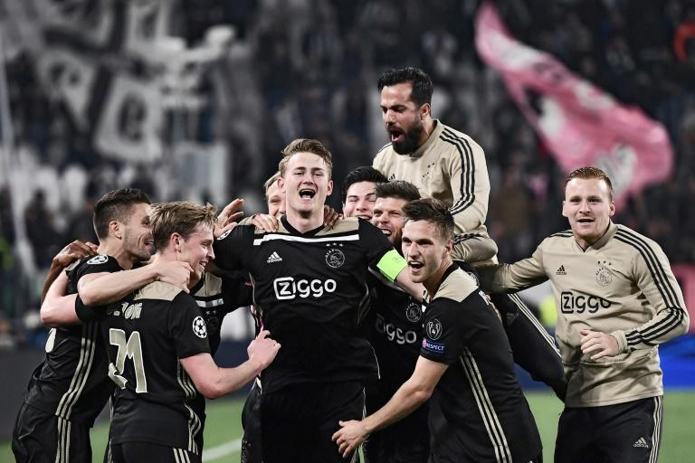 Matthijs de Ligt (C) with teammates after Ajax beat Juventus in the Champions League quarter-finals in 2019. De Ligt went on to sign for Juve that summer.
