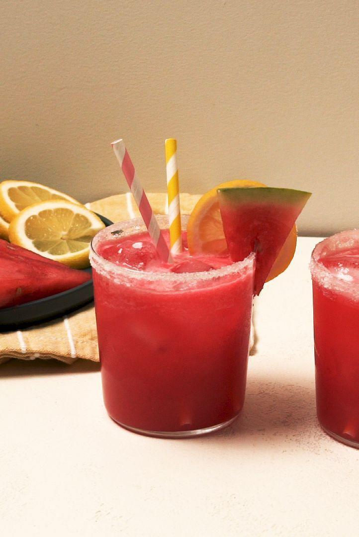 "<p>When the temperature rises, there's something so satisfying about a spiked <a href=""https://www.delish.com/uk/cocktails-drinks/a33333195/easy-homemade-lemonade-recipe/"" rel=""nofollow noopener"" target=""_blank"" data-ylk=""slk:lemonade"" class=""link rapid-noclick-resp"">lemonade</a>. This version is big on watermelon, our favourite thirst-quenching summer fruit. If you're short on lemons, or want to mix it up, lime juice would also be delicious! </p><p>Get the Spiked <a href=""https://www.delish.com/uk/cocktails-drinks/a33333214/spiked-watermelon-lemonade-recipe/"" rel=""nofollow noopener"" target=""_blank"" data-ylk=""slk:Watermelon Lemonade"" class=""link rapid-noclick-resp"">Watermelon Lemonade</a> recipe.</p>"