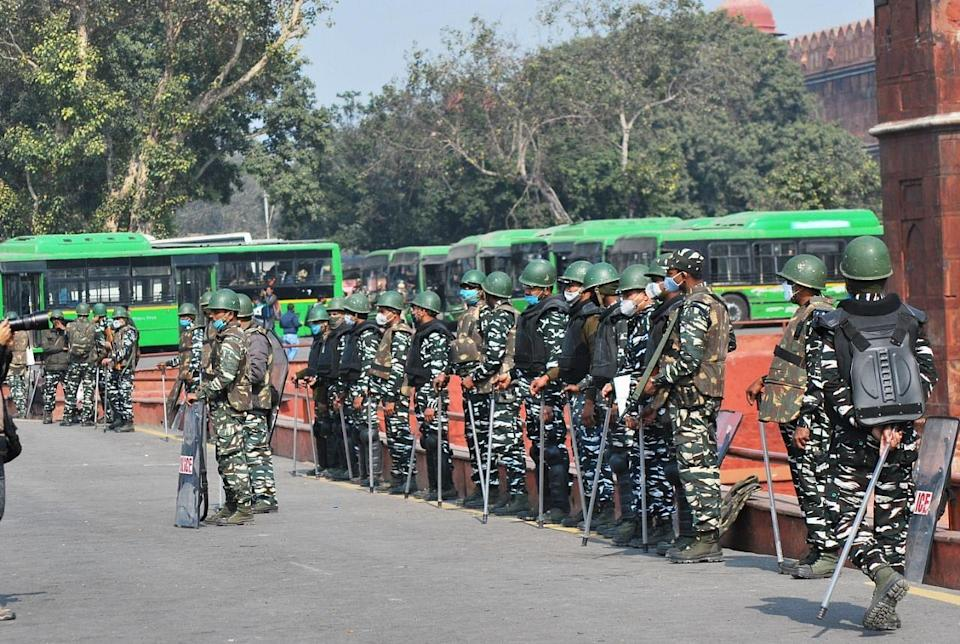 Increased security presence at Red Fort, a day after clashes ensued between protesters and the police.