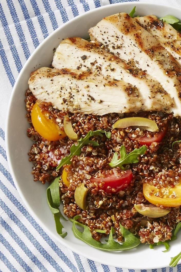 """<p>We'll take this warm grain and arugula bowl, topped with herb-crusted chicken, olives and tomatoes, for a <a href=""""https://www.goodhousekeeping.com/food-recipes/healthy/g960/healthy-lunch-ideas/"""" rel=""""nofollow noopener"""" target=""""_blank"""" data-ylk=""""slk:healthy lunch idea"""" class=""""link rapid-noclick-resp"""">healthy lunch idea</a> any and every day.</p><p><em><a href=""""https://www.goodhousekeeping.com/food-recipes/a43216/chicken-quinoa-bowls-recipe/"""" rel=""""nofollow noopener"""" target=""""_blank"""" data-ylk=""""slk:Get the recipe for Chicken Quinoa Bowls »"""" class=""""link rapid-noclick-resp"""">Get the recipe for Chicken Quinoa Bowls »</a></em></p>"""