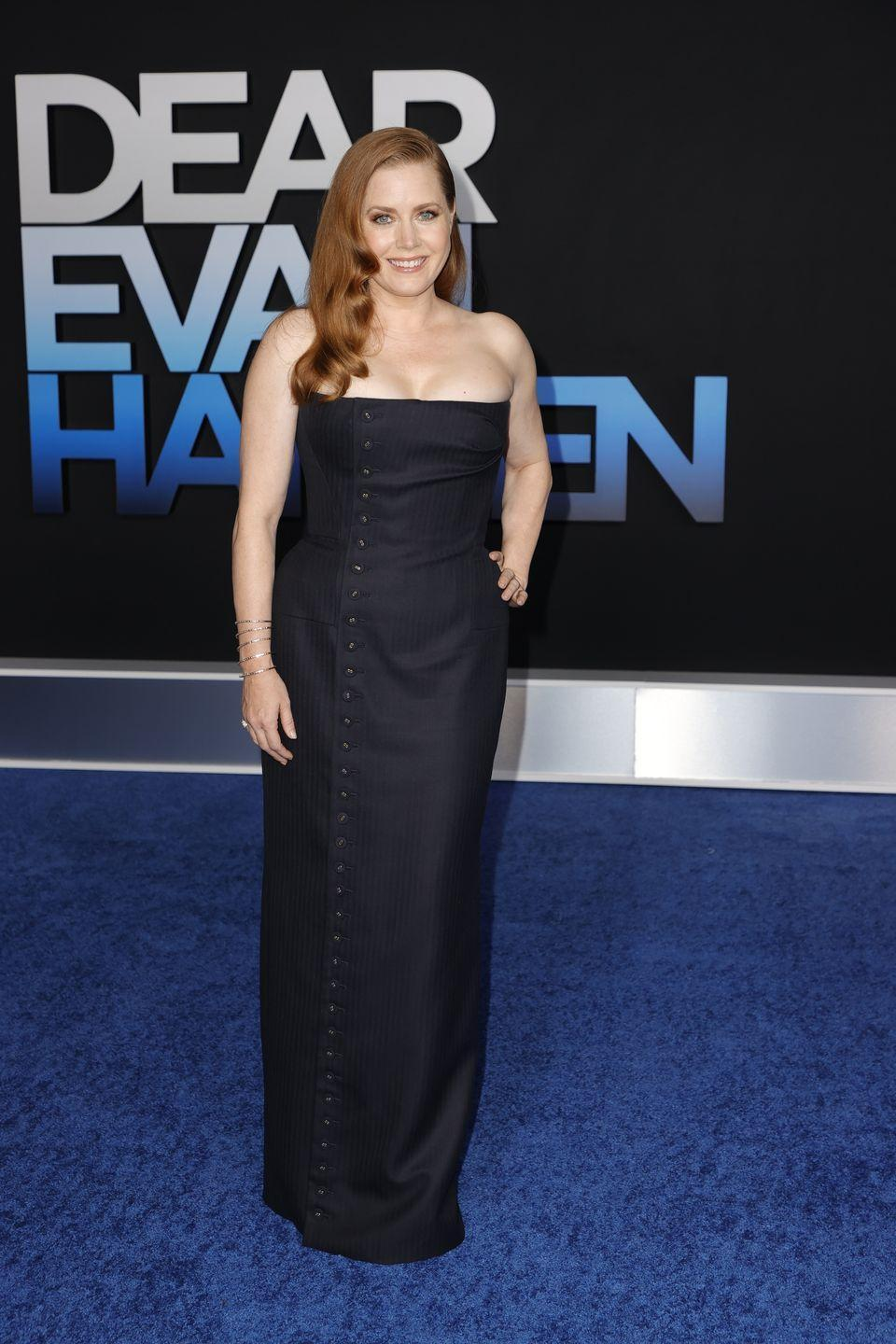 <p><strong>22 September</strong></p><p>Amy Adams wore a strapless Thom Browne dress to the premiere.</p>