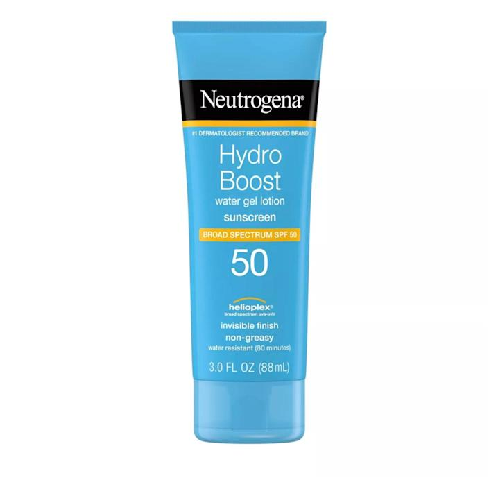 """<p><a href=""""https://www.allure.com/story/neutrogena-skin360-skinscanner-fitskin?mbid=synd_yahoo_rss"""" rel=""""nofollow noopener"""" target=""""_blank"""" data-ylk=""""slk:Neutrogena"""" class=""""link rapid-noclick-resp"""">Neutrogena</a> has been a dermatologist favorite since the dawn of time and an <a href=""""https://www.allure.com/review/neutrogena-clear-face-sunscreen?mbid=synd_yahoo_rss"""" rel=""""nofollow noopener"""" target=""""_blank"""" data-ylk=""""slk:Allure editor pick for almost as long"""" class=""""link rapid-noclick-resp""""><em>Allure</em> editor pick for almost as long</a>. While we're definitely partial to the brand's <a href=""""https://www.allure.com/review/neutrogena-sheer-zinc-dry-touch-sunscreen-broad-spectrum-spf-50?mbid=synd_yahoo_rss"""" rel=""""nofollow noopener"""" target=""""_blank"""" data-ylk=""""slk:Sheer Touch formulas"""" class=""""link rapid-noclick-resp"""">Sheer Touch formulas</a>, Neutrogena Hydro Boost Water Gel Lotion SPF 50 could fool even the most sunscreen-savvy into thinking it's nothing more than an <a href=""""https://www.allure.com/gallery/best-water-based-gel-moisturizers?mbid=synd_yahoo_rss"""" rel=""""nofollow noopener"""" target=""""_blank"""" data-ylk=""""slk:H2O-heavy moisturizer"""" class=""""link rapid-noclick-resp"""">H2O-heavy moisturizer</a>. It dispenses as a semi-opaque, pale-blue gel and smells more like a fresh, mild shampoo than anything else. It feels cool upon application and dries with a hydrating finish, thanks to an infusion of hyaluronic acid.</p> <p><strong>$11</strong> (<a href=""""https://shop-links.co/1635174829116726095"""" rel=""""nofollow noopener"""" target=""""_blank"""" data-ylk=""""slk:Shop Now"""" class=""""link rapid-noclick-resp"""">Shop Now</a>)</p>"""