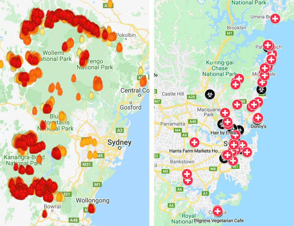 The side-by-side comparison shows NSW swarmed with bushfires in 2019, and inundated with coronavirus cases in 2020.