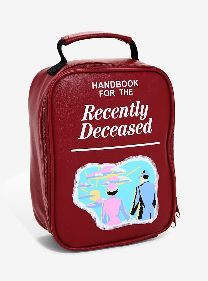 """<p>No one will dare steal your lunch in this fun red <a href=""""https://www.popsugar.com/buy/Handbook-Recently-Deceased-Lunch-Bag-483810?p_name=Handbook%20For%20the%20Recently%20Deceased%20Lunch%20Bag&retailer=hottopic.com&pid=483810&price=16&evar1=savvy%3Aus&evar9=46534618&evar98=https%3A%2F%2Fwww.popsugar.com%2Fphoto-gallery%2F46534618%2Fimage%2F46534634%2FHandbook-For-Recently-Deceased-Lunch-Bag&list1=halloween%2Cbeetlejuice%2Chot%20topic&prop13=api&pdata=1"""" rel=""""nofollow"""" data-shoppable-link=""""1"""" target=""""_blank"""" class=""""ga-track"""" data-ga-category=""""Related"""" data-ga-label=""""http://www.hottopic.com/product/beetlejuice-handbook-for-the-recently-deceased-lunch-bag/11873211.html"""" data-ga-action=""""In-Line Links"""">Handbook For the Recently Deceased Lunch Bag</a> ($16, originally $20)!</p>"""