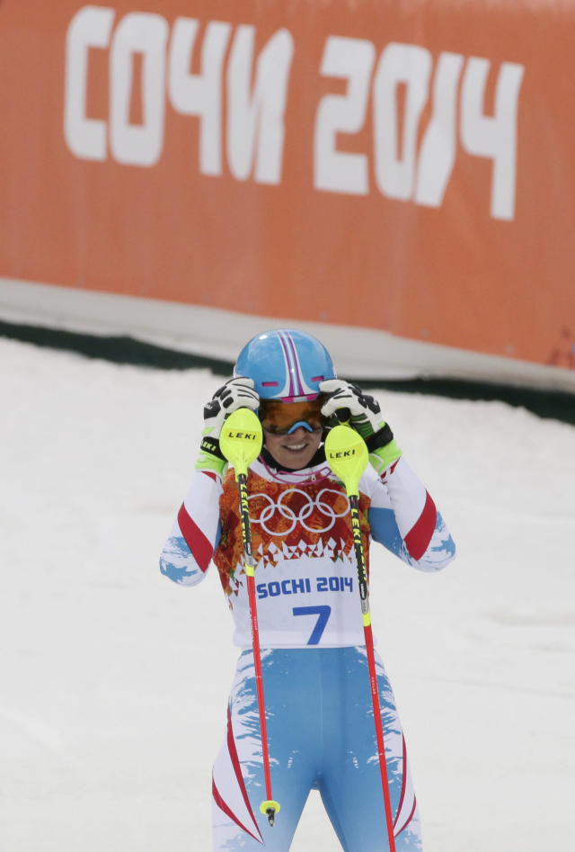 Austria's Marlies Schild reacts after completing the first run of the women's slalom at the Sochi 2014 Winter Olympics, Friday, Feb. 21, 2014, in Krasnaya Polyana, Russia.(AP Photo/Gero Breloer)