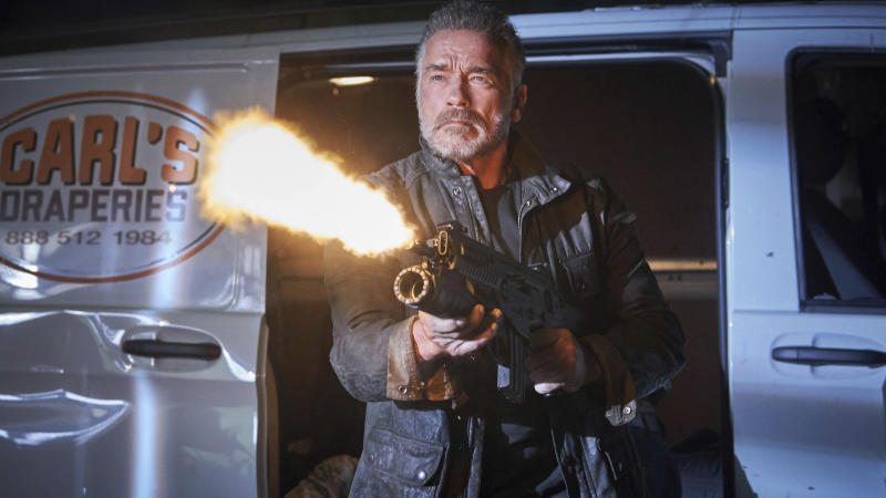 """This image released by Paramount Pictures shows Arnold Schwarzenegger in """"Terminator: Dark Fate."""" (Kerry Brown/Paramount Pictures via AP)"""