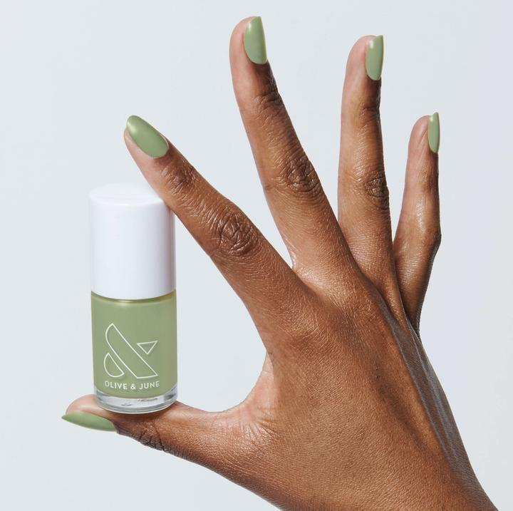 <p>The <span>Olive & June WKF Polish</span> ($8) is a cool medium green that's really fun.</p>