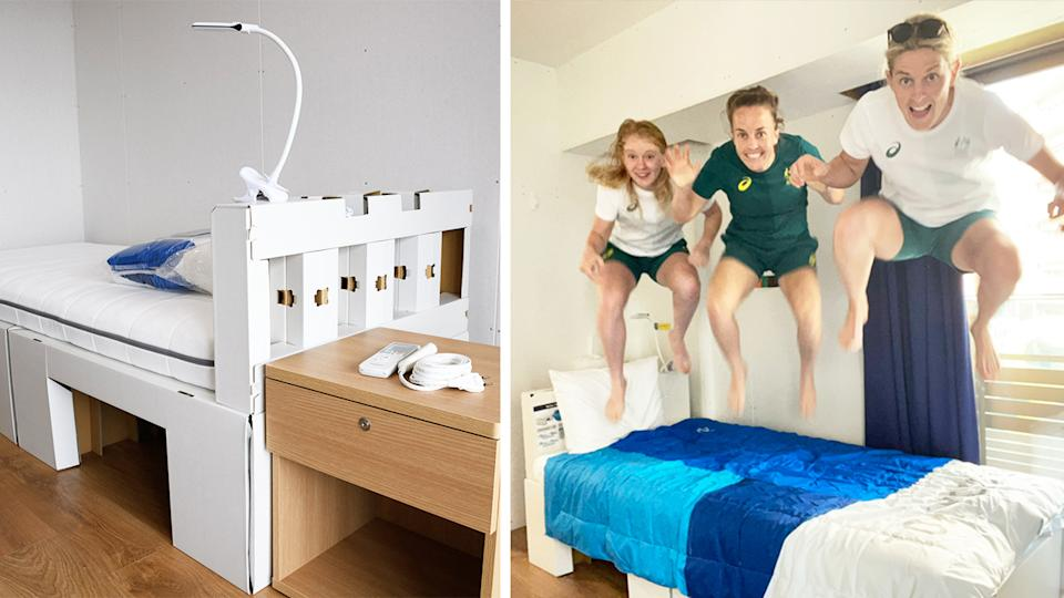 The Australian hockey team (pictured right) jumping on the beds in the Olympic village.