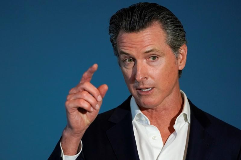 California governor Gavin Newsom speaks at a news conference in San Diego