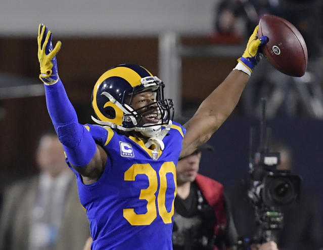 Los Angeles Rams running back Todd Gurley didn't have a big impact in the NFC championship game against the Saints. (AP)