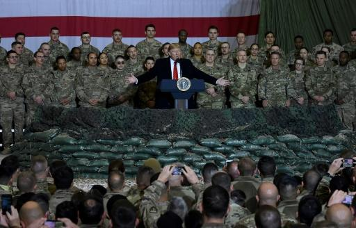 US President Donald Trump speaks to the troops during a surprise Thanksgiving visit at Bagram Airfield, on November 28, 2019 in Afghanistan