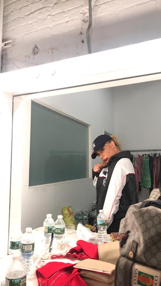 """<p>""""Behind the scenes: getting ready for my first Bottled Up performance at <em>Teen Vogue</em>'s NYFW party.""""</p> <p><em>Dinah takes a moment to reflect before hitting the stage for an unforgettable performance at the Body Party event.</em></p>"""