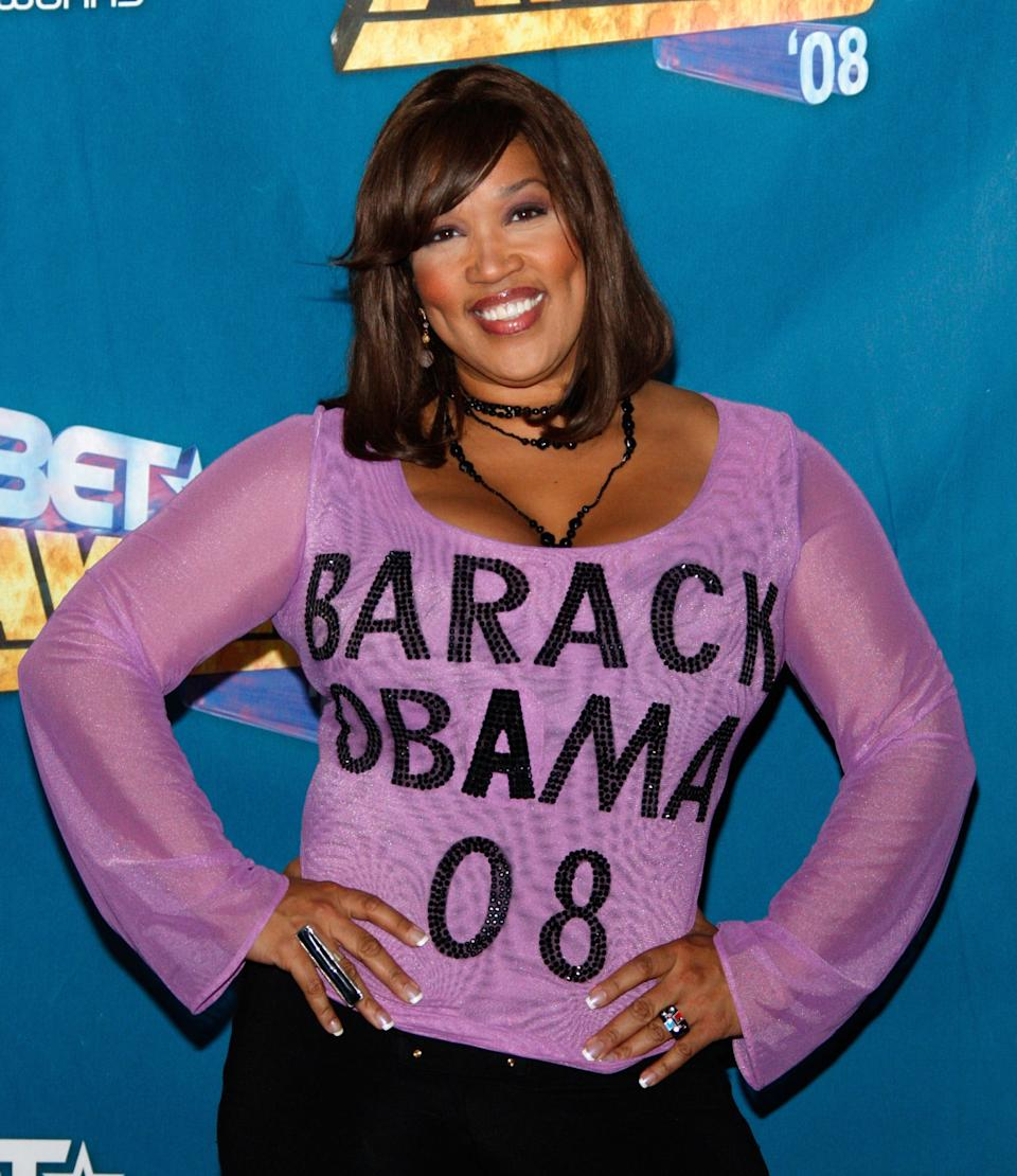 Comedian Kym Whitley poses dressed in an 'Obama '08' blouse in the press room shirt at the 2008 BET Awards