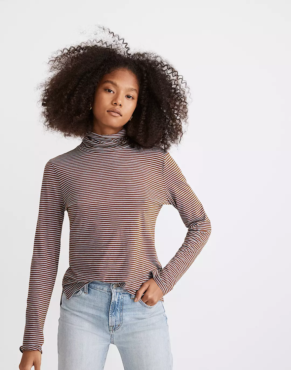 "<br><br><strong>Madewell</strong> Whisper Cotton Turtleneck, $, available at <a href=""https://go.skimresources.com/?id=30283X879131&url=https%3A%2F%2Fwww.madewell.com%2Fwhisper-cotton-turtleneck-in-carlsbad-stripe-MB111.html"" rel=""nofollow noopener"" target=""_blank"" data-ylk=""slk:Madewell"" class=""link rapid-noclick-resp"">Madewell</a>"