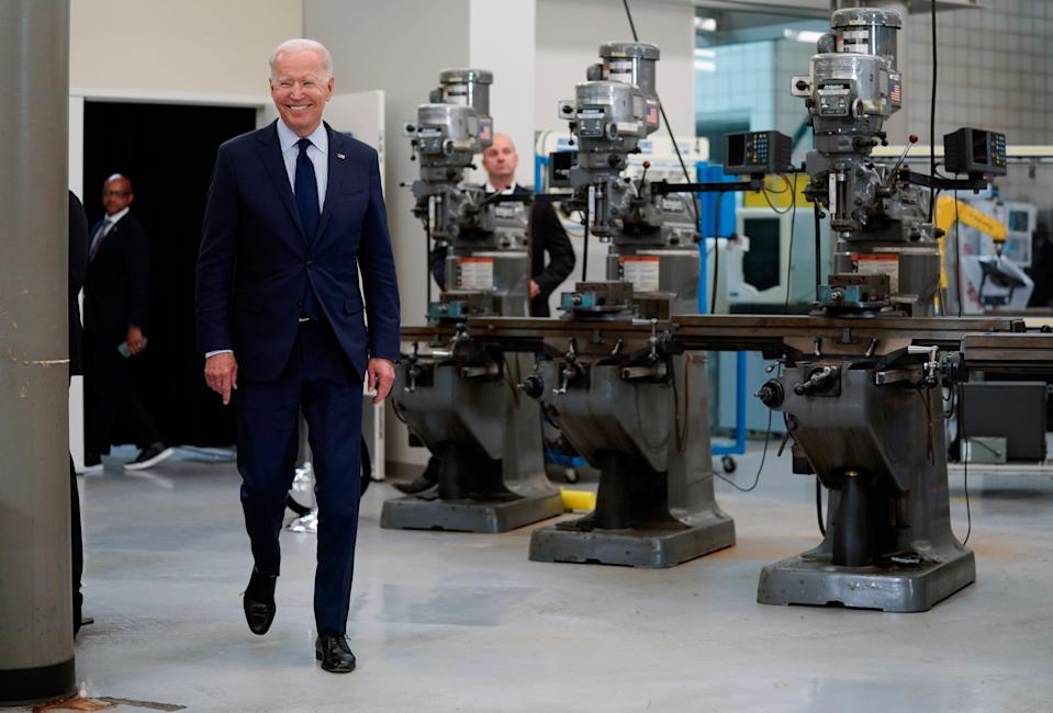 President Joe Biden arrives to speak about the economy at the Cuyahoga Community College Metropolitan Campus, Thursday, May 27, 2021, in Cleveland.