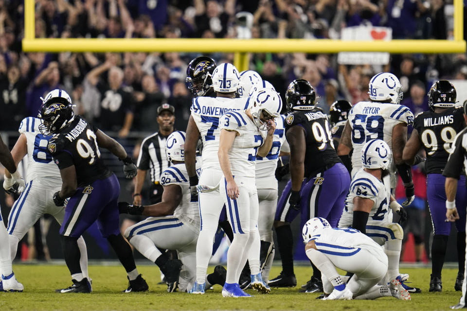 Indianapolis Colts kicker Rodrigo Blankenship (3) reacts after missing a field goal late in the second half of an NFL football game against the Baltimore Ravens, Monday, Oct. 11, 2021, in Baltimore. (AP Photo/Julio Cortez)