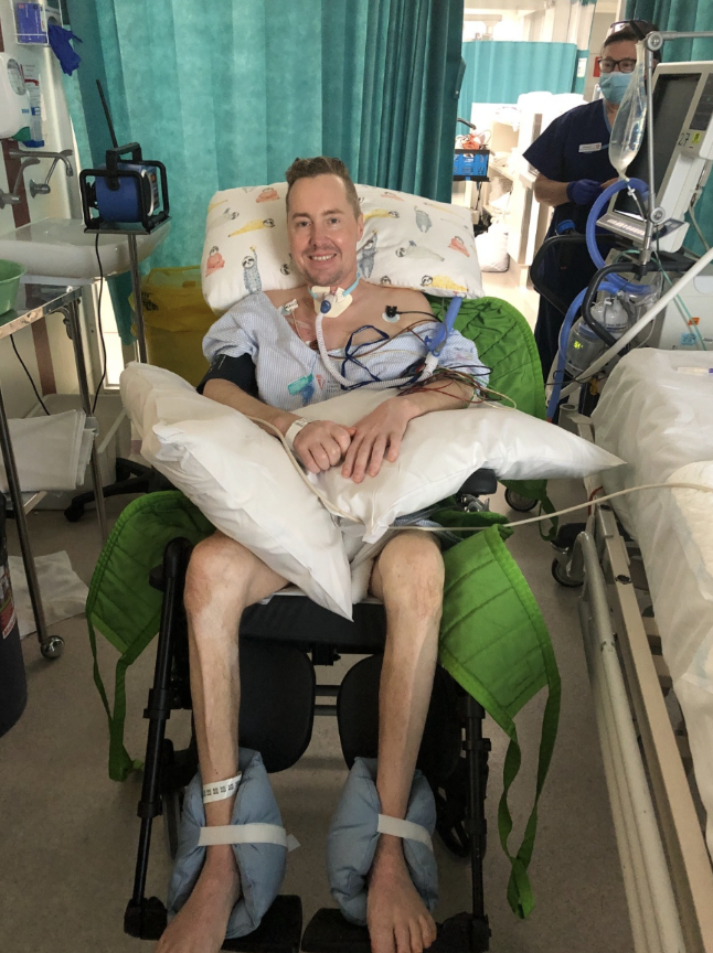 Sam in a special wheelchair in hospital.