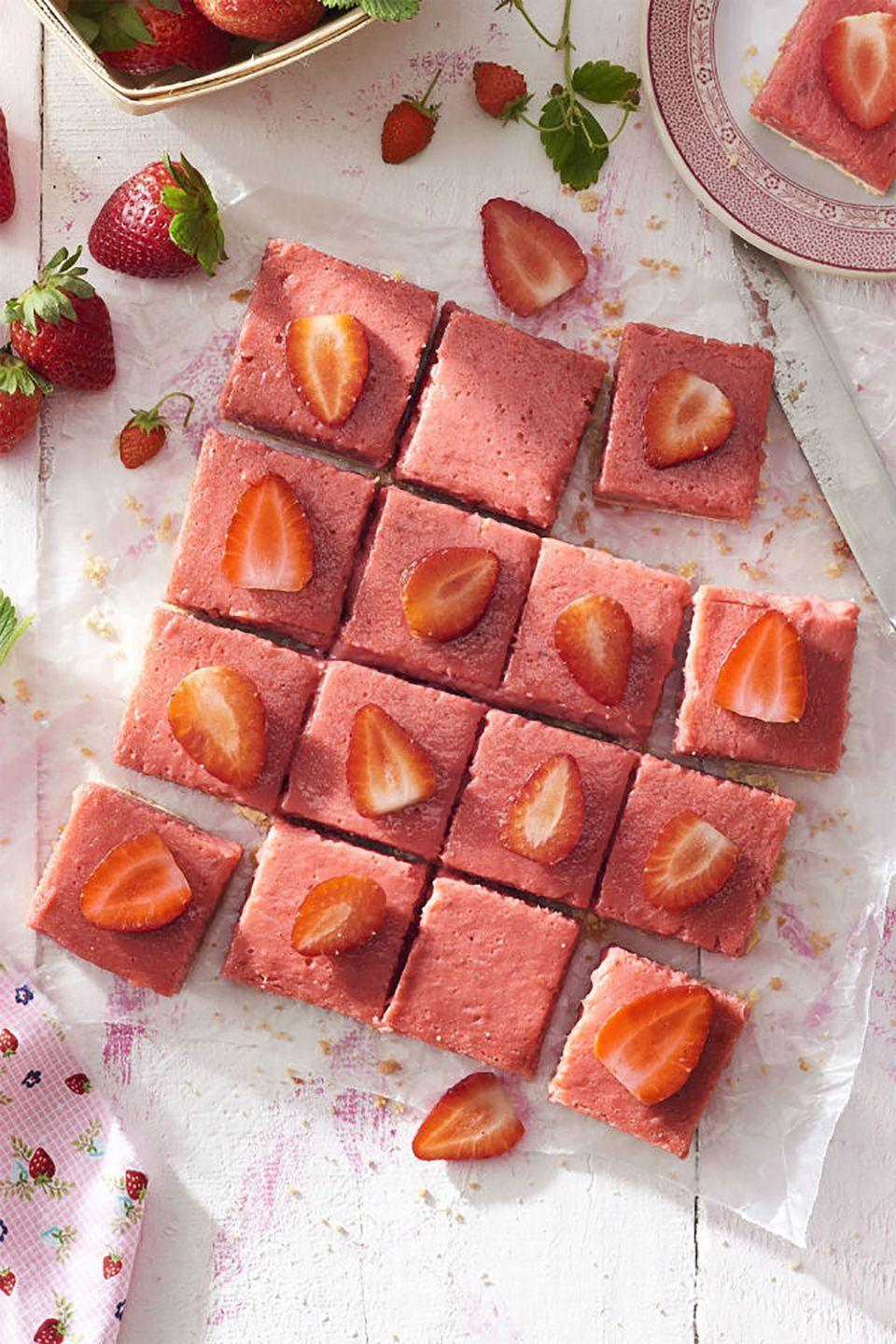 """<p>Shortbread bars get a lot of their flavor from the generous amount of butter and sugar, but this recipe adds in a smart helping of fresh spring fruit.</p><p><strong><a href=""""https://www.countryliving.com/food-drinks/recipes/a41984/strawberry-rhubarb-shortbread-bars-recipe/"""" rel=""""nofollow noopener"""" target=""""_blank"""" data-ylk=""""slk:Get the recipe"""" class=""""link rapid-noclick-resp"""">Get the recipe</a>.</strong></p><p><strong><a class=""""link rapid-noclick-resp"""" href=""""https://www.amazon.com/Wilton-Industries-Perfect-Results-Cooling/dp/B003W0UNM0?tag=syn-yahoo-20&ascsubtag=%5Bartid%7C10050.g.32944821%5Bsrc%7Cyahoo-us"""" rel=""""nofollow noopener"""" target=""""_blank"""" data-ylk=""""slk:SHOP COOLING RACKS"""">SHOP COOLING RACKS</a><br></strong></p>"""