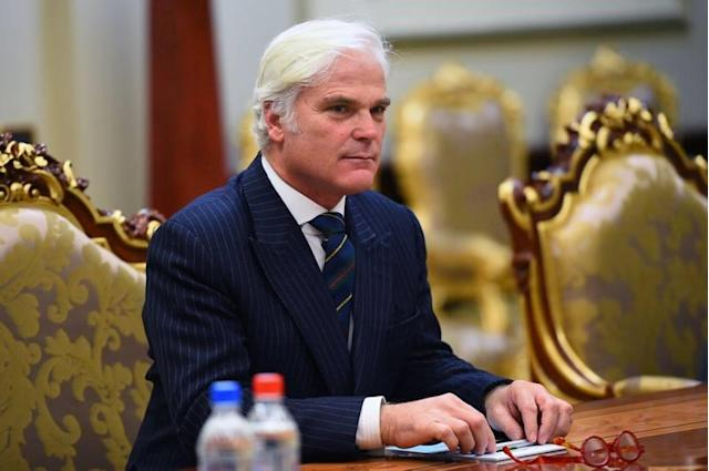 Desmond Swayne was asked to condemn Donald Trump's handling of protests in the US. (Getty)