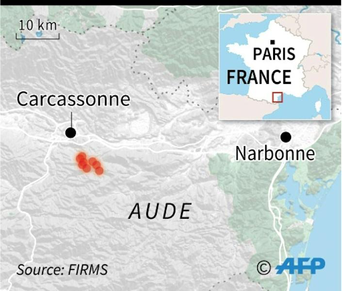 Map of fire sweeping through a pine forest in Aude department in southern France. (AFP Photo/Jean-Michel CORNU)