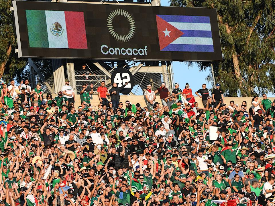 PASADENA, CA - JUNE 15: Mexican fans during the 2019 CONCACAF Gold Cup Group A match between Mexico and Cuba at the Rose Bowl on June 15, 2019 in Pasadena, California. Mexico won the match 7-0  (Photo: Shaun Clark/Getty Images)