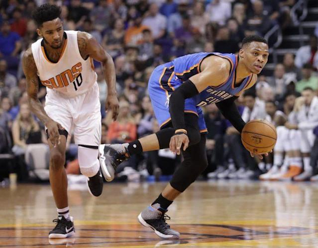 "<a class=""link rapid-noclick-resp"" href=""/nba/players/4390/"" data-ylk=""slk:Russell Westbrook"">Russell Westbrook</a> made NBA history in Phoenix on Friday. (AP)"