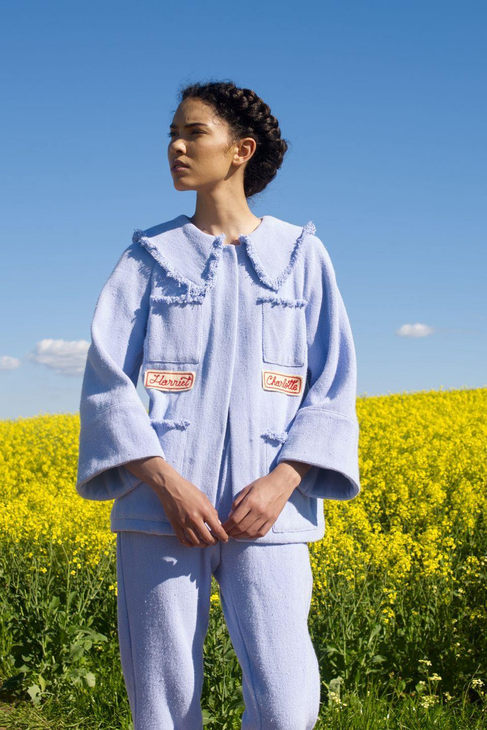 """<p>South African designer Sindiso Khumalo, who was one of the 8 LVMH Prize finalists to split this year's prize, made her Milan Fashion Week debut (digitally, of course, due to ongoing travel restrictions). Harriet Tubman—whose name appeared on embroidered patches affixed to a beautifully tailored jacket with raw edges and a patch pocket cardigan—served as the collection's muse, """"Violence against Black woman has been in existence since Harriet Tubman's time and still exists today with Uyinene Mrwetyana in South Africa, Breonna Taylor in America and the young school girls from Nigeria who were stolen by Boko Haram,"""" says Khumalo of her powerful inspiration. """"There is still a lot more work to be done."""" Khumalo is committed to uplifting other Black women through her collaborations with female artisan collectives across Africa. Hand printed silk taffeta and handwoven cottons used in Harriet-like prairie dresses came from Burkina Faso, while the collection's embroidery details were done by members of a Cape Town employment program for former sex workers. <em>—Alison S. Cohn</em></p>"""