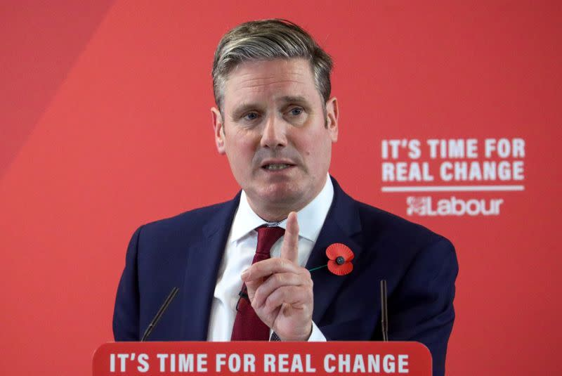 FILE PHOTO: Keir Starmer speaks during a Labour Party general election campaign meeting in Harlow