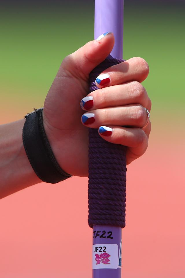 LONDON, ENGLAND - AUGUST 04:  Finger nail detail of Jirina Ptacnikova of Czech Republic competes in the Women's Pole Vault qualification on Day 8 of the London 2012 Olympic Games at Olympic Stadium on August 4, 2012 in London, England.  (Photo by Alexander Hassenstein/Getty Images)