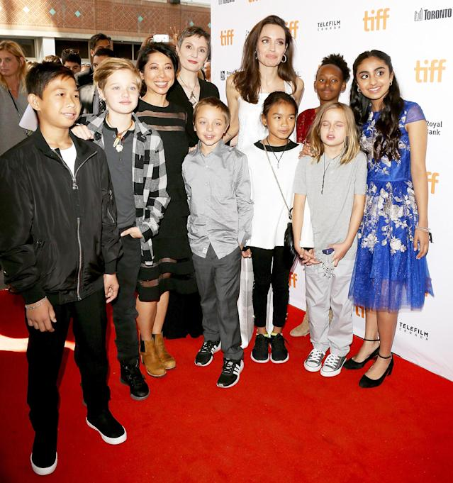 "<p><a href=""https://www.yahoo.com/movies/tagged/angelina-jolie"" data-ylk=""slk:Angelina Jolie"" class=""link rapid-noclick-resp"">Angelina Jolie</a> with her children at the <a href=""https://www.yahoo.com/movies/tagged/toronto-film-festival"" data-ylk=""slk:2017 Toronto International Film Festival"" class=""link rapid-noclick-resp"">2017 Toronto International Film Festival</a> as executive producer of <a href=""http://people.com/movies/angelina-jolie-breadwinner-exclusive-trailer/"" rel=""nofollow noopener"" target=""_blank"" data-ylk=""slk:The Breadwinner"" class=""link rapid-noclick-resp""><em>The Breadwinner</em></a>, on Sept. 10 (Photo: Michael Tran/Getty Images) </p>"
