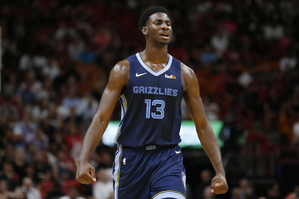 Jaren Jackson Jr. #13 of the Memphis Grizzlies reacts against the Miami Heat