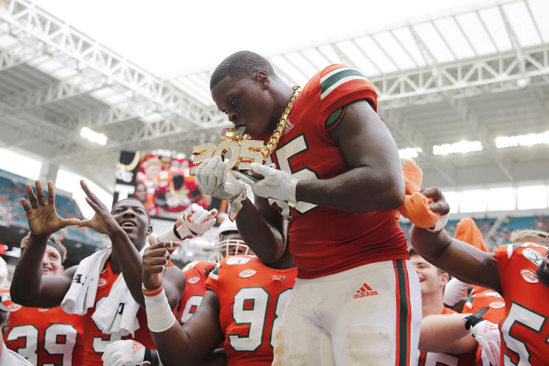 Miami LB Shaq Quarterman has spent a lot of time with the team's turnover chains. (Photo by Michael Reaves/Getty Images)